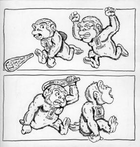 Homo erectus clubbing each other