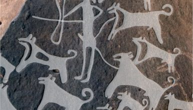 ancient dogs with leashes