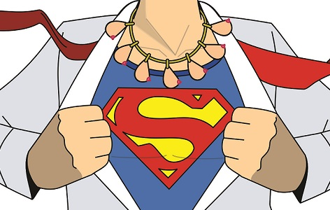 Superman with necklace of breasts